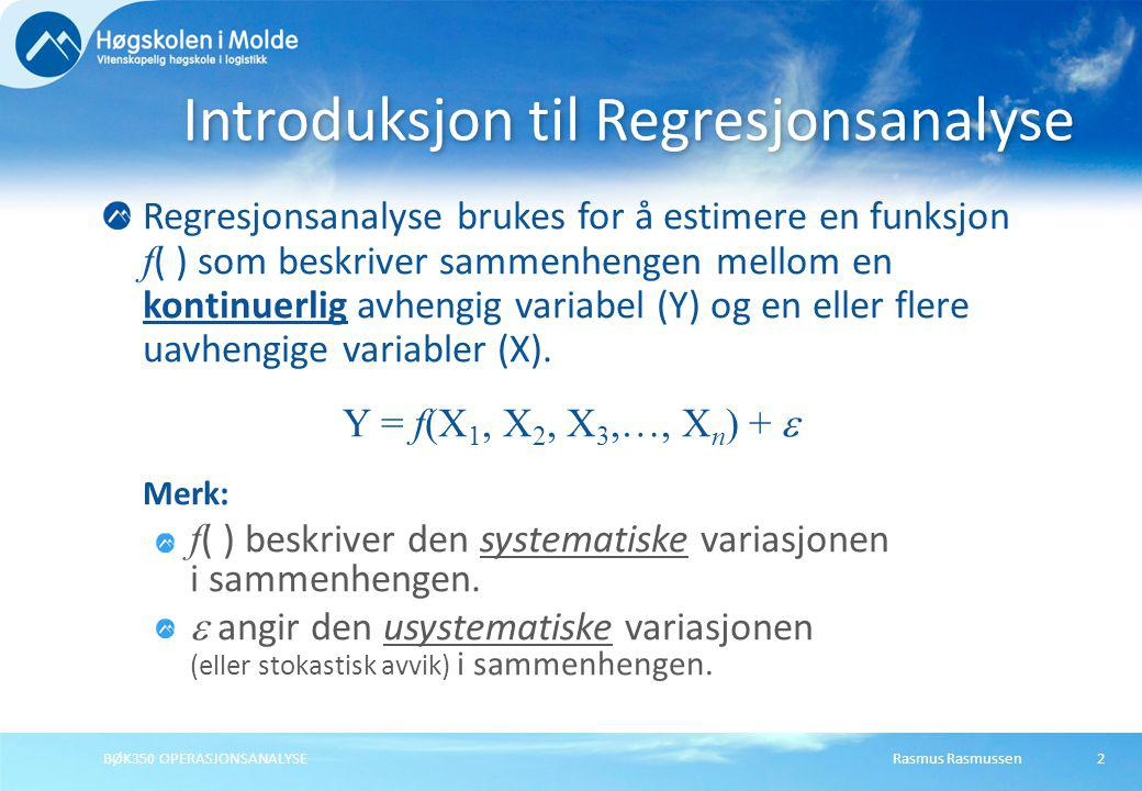 Introduksjon til Regresjonsanalyse