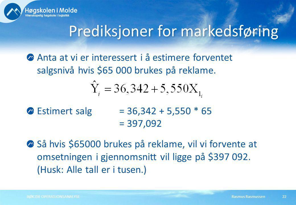 Prediksjoner for markedsføring