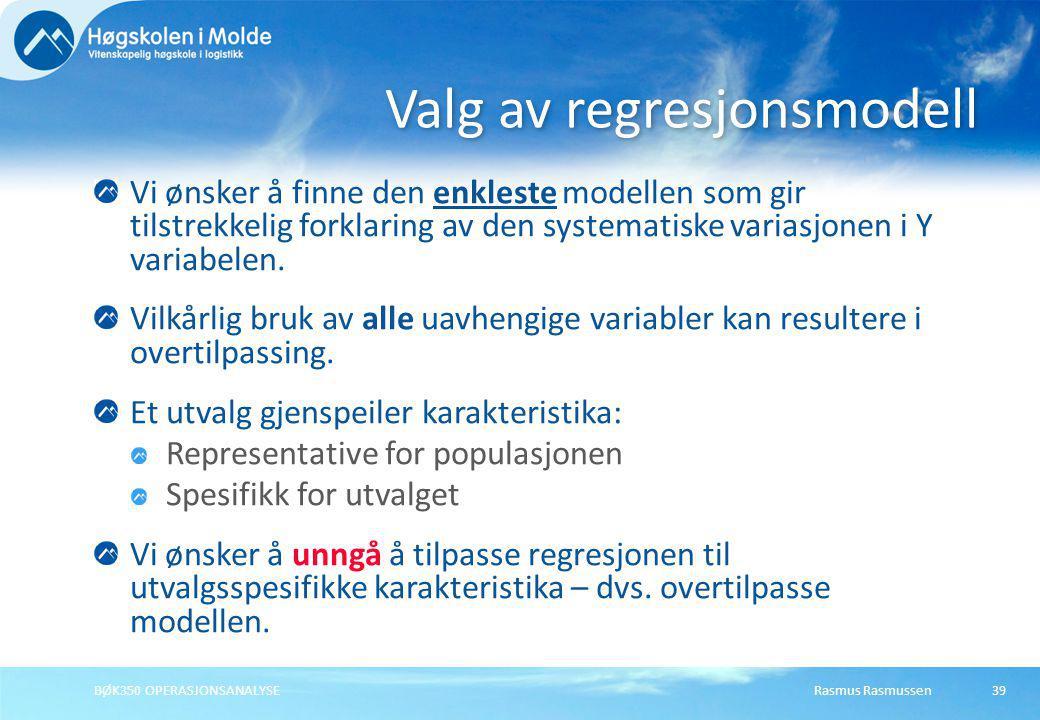 Valg av regresjonsmodell