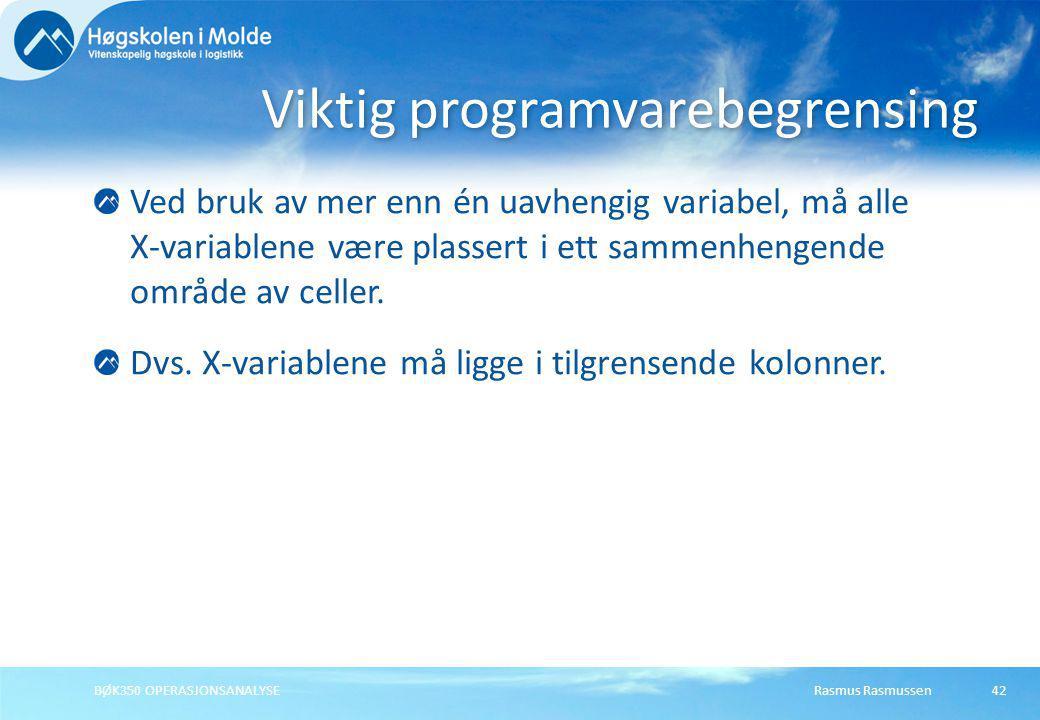 Viktig programvarebegrensing