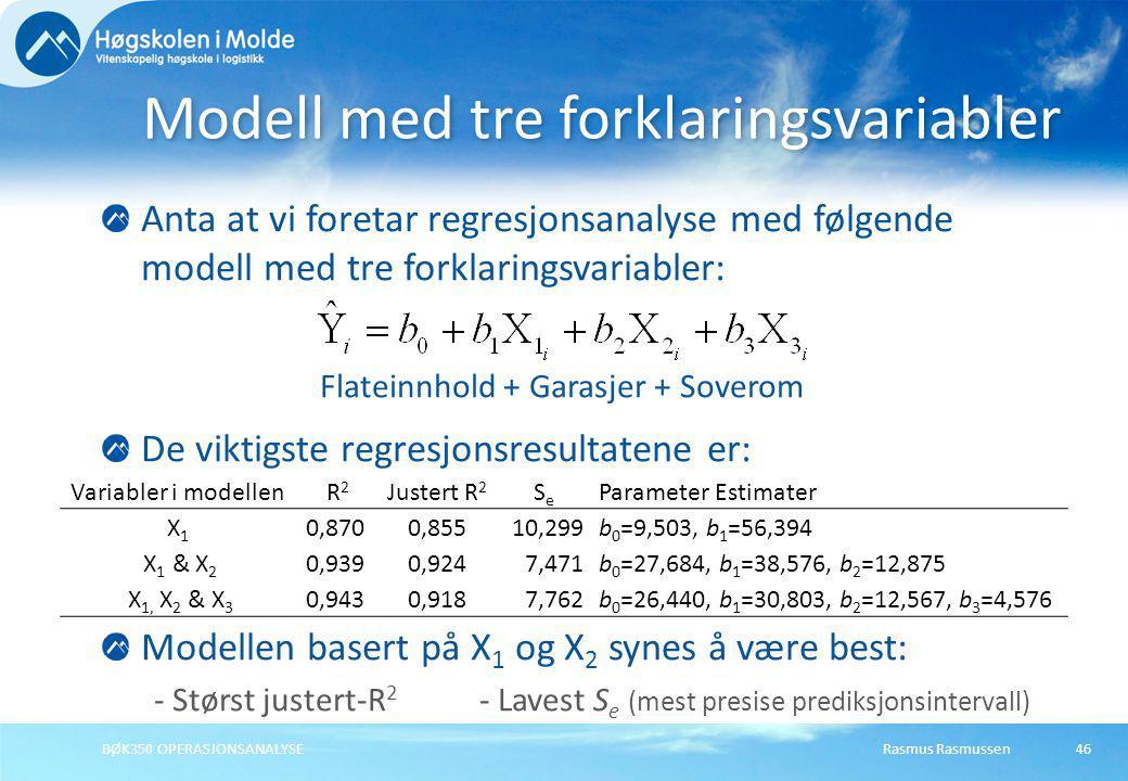 Modell med tre forklaringsvariabler