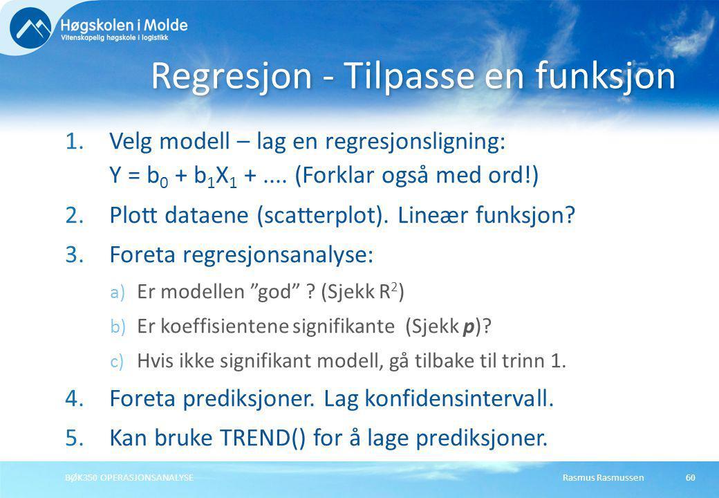 Regresjon - Tilpasse en funksjon