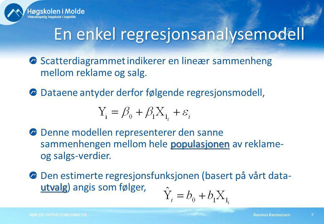 En enkel regresjonsanalysemodell