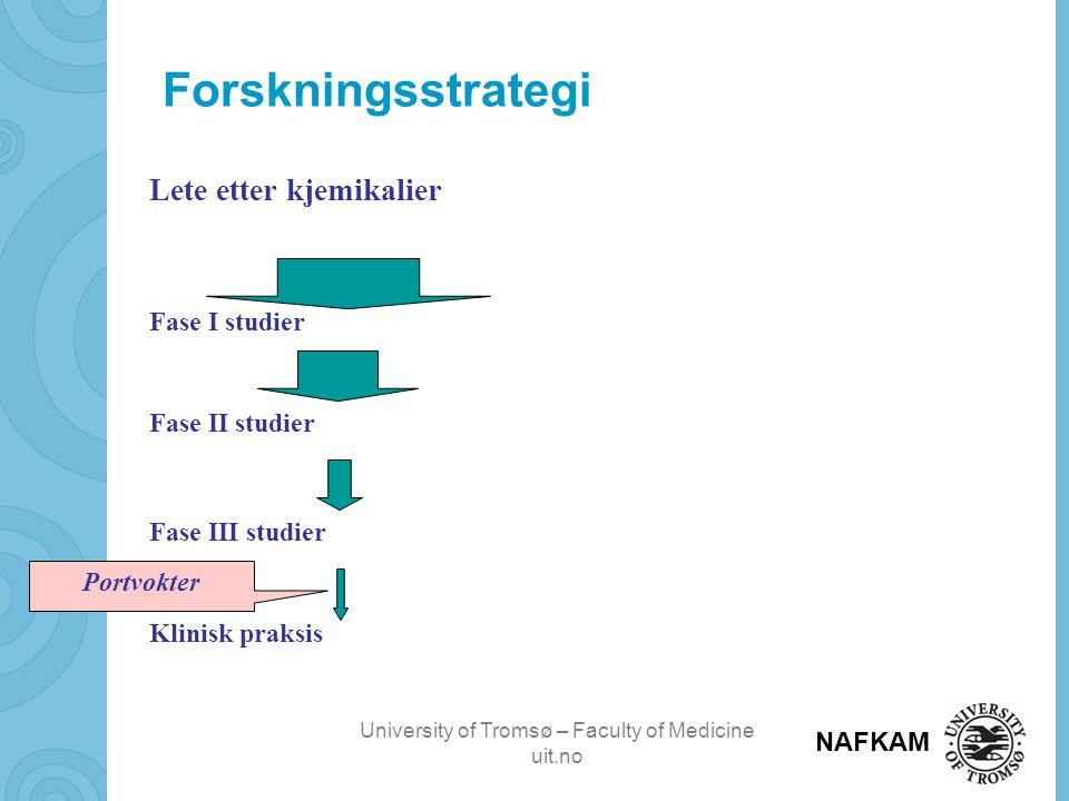 Forskningsstrategi Lete etter kjemikalier Fase I studier