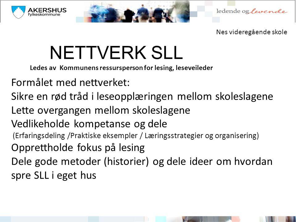 NETTVERK SLL Formålet med nettverket: