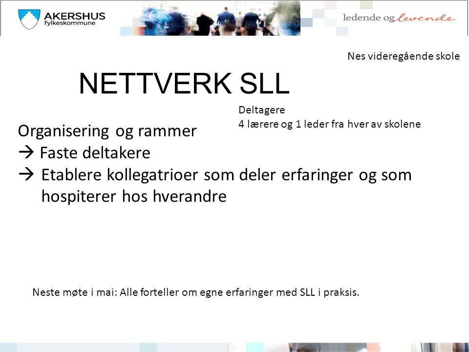 NETTVERK SLL Organisering og rammer  Faste deltakere