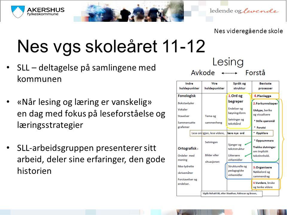 Nes vgs skoleåret 11-12 SLL – deltagelse på samlingene med kommunen