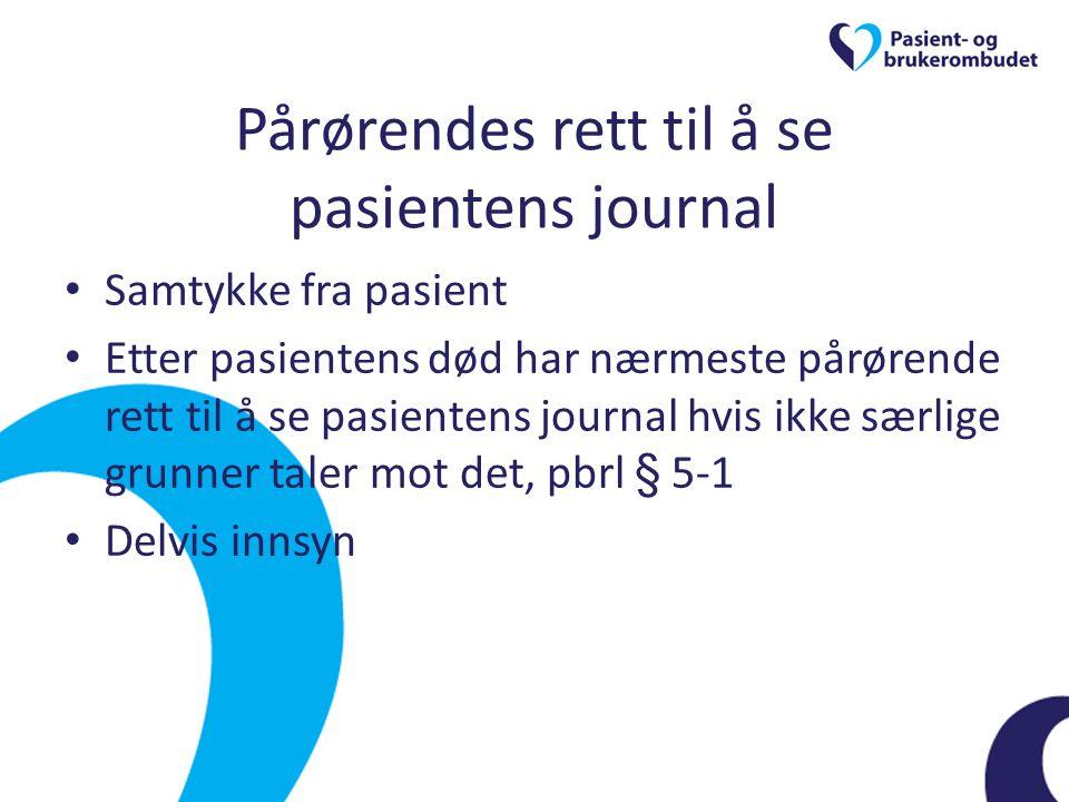 Pårørendes rett til å se pasientens journal