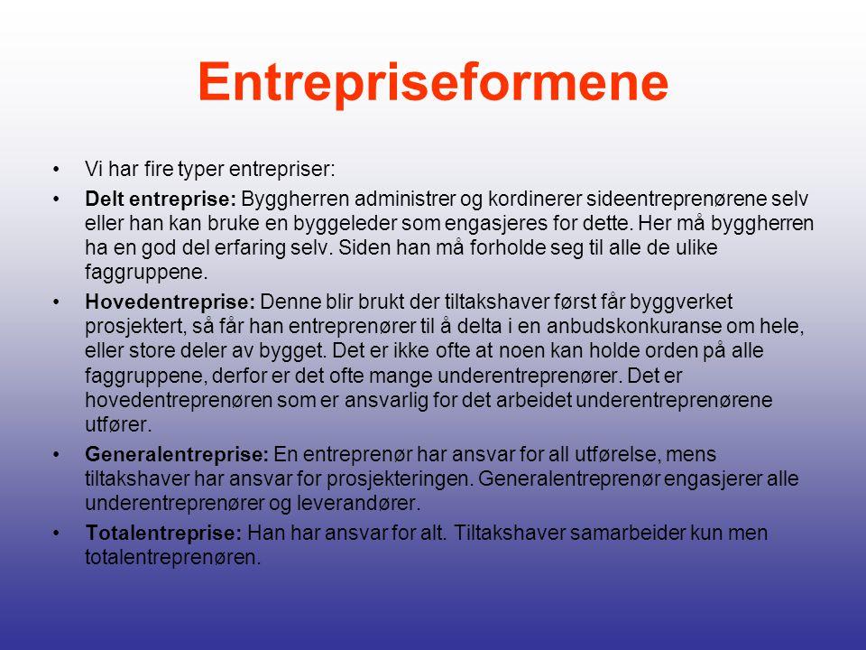 Entrepriseformene Vi har fire typer entrepriser: