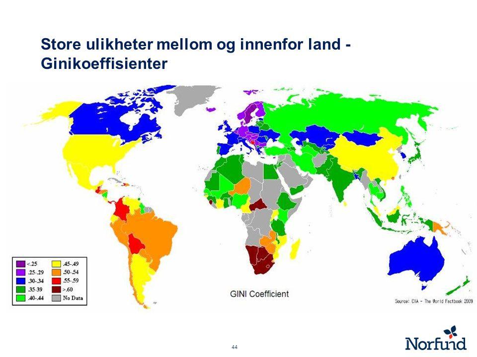 Store ulikheter mellom og innenfor land - Ginikoeffisienter