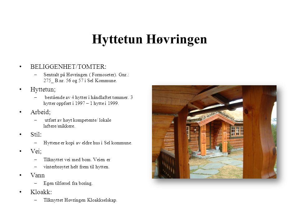 Hyttetun Høvringen BELIGGENHET/TOMTER: Hyttetun; Arbeid; Stil: Vei;
