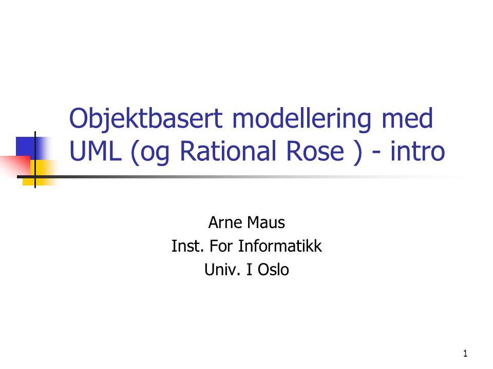 Objektbasert modellering med UML (og Rational Rose ) - intro