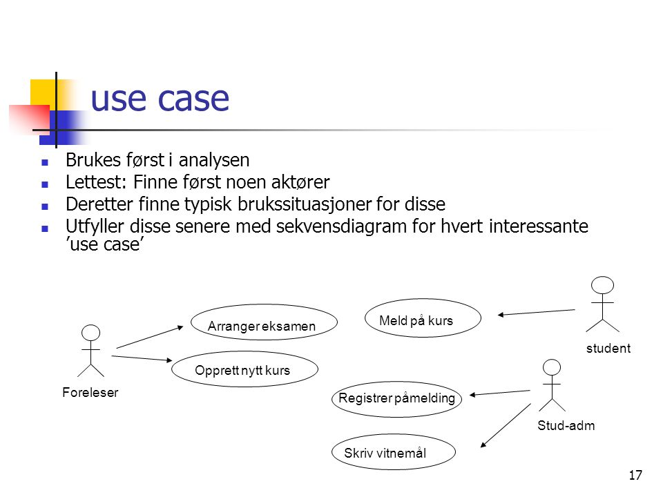 use case Brukes først i analysen Lettest: Finne først noen aktører