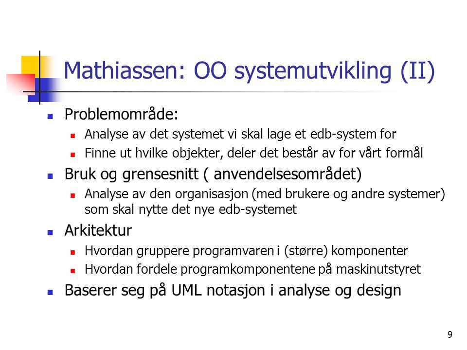 Mathiassen: OO systemutvikling (II)