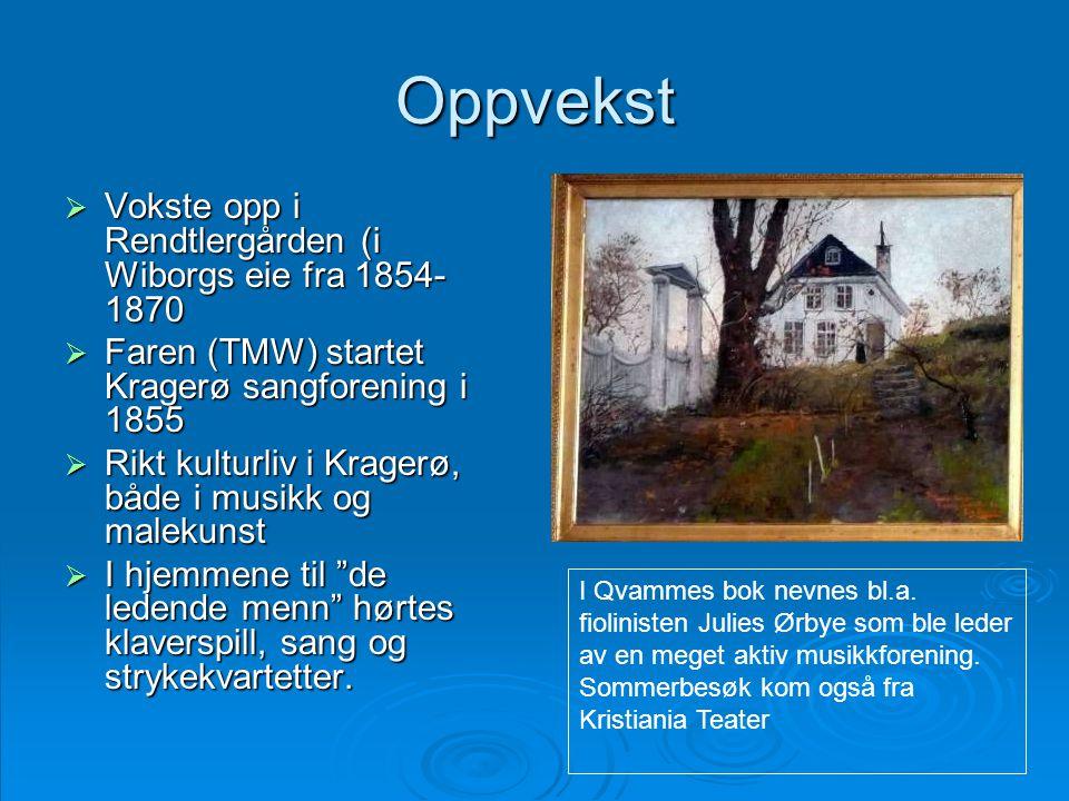 Oppvekst Vokste opp i Rendtlergården (i Wiborgs eie fra 1854-1870