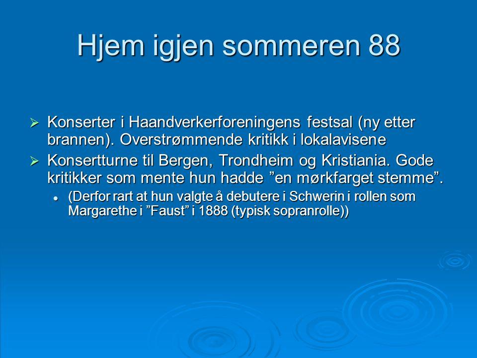 Hjem igjen sommeren 88 Konserter i Haandverkerforeningens festsal (ny etter brannen). Overstrømmende kritikk i lokalavisene.