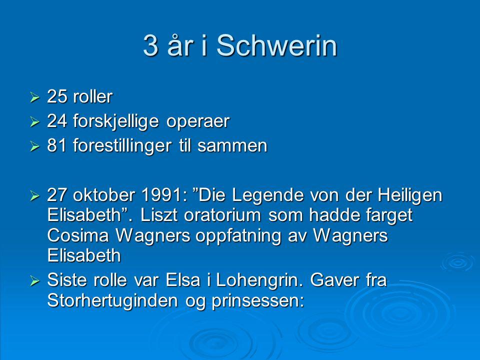 3 år i Schwerin 25 roller 24 forskjellige operaer
