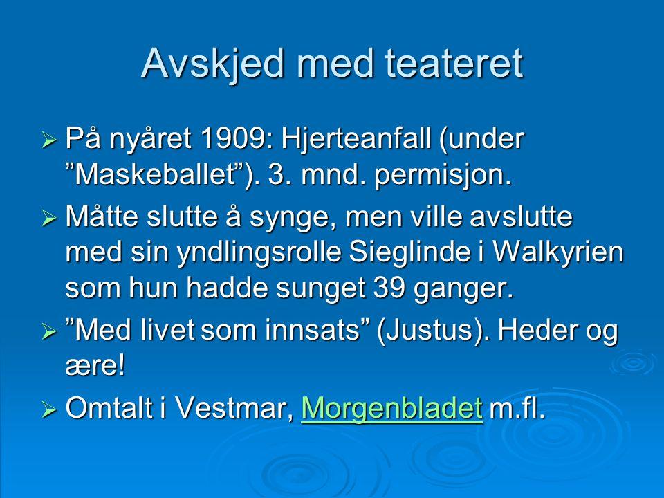 Avskjed med teateret På nyåret 1909: Hjerteanfall (under Maskeballet ). 3. mnd. permisjon.