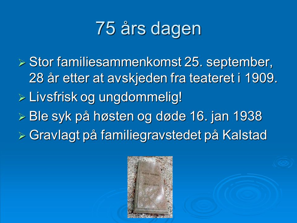 75 års dagen Stor familiesammenkomst 25. september, 28 år etter at avskjeden fra teateret i 1909. Livsfrisk og ungdommelig!