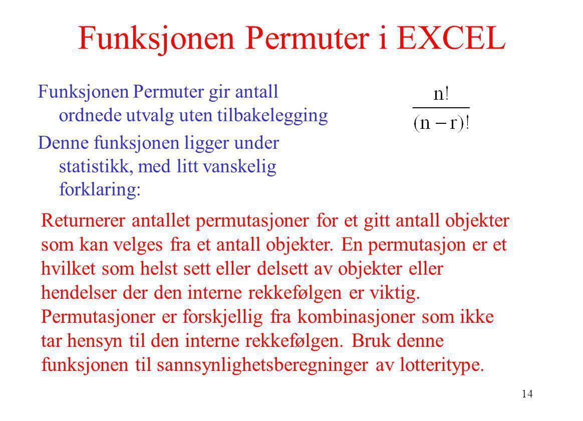 Funksjonen Permuter i EXCEL