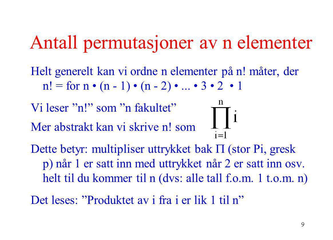 Antall permutasjoner av n elementer