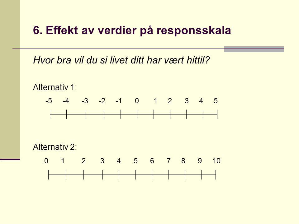 6. Effekt av verdier på responsskala