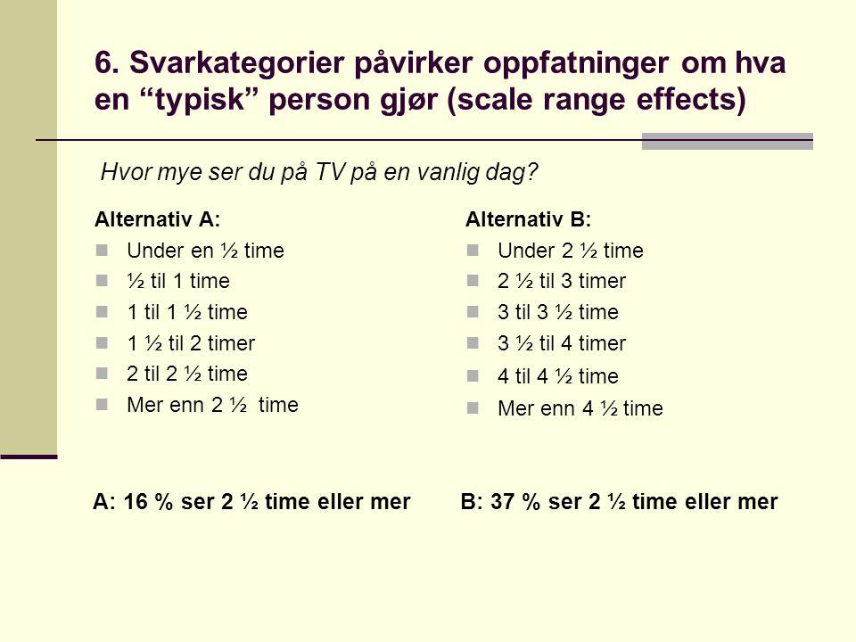 6. Svarkategorier påvirker oppfatninger om hva en typisk person gjør (scale range effects)