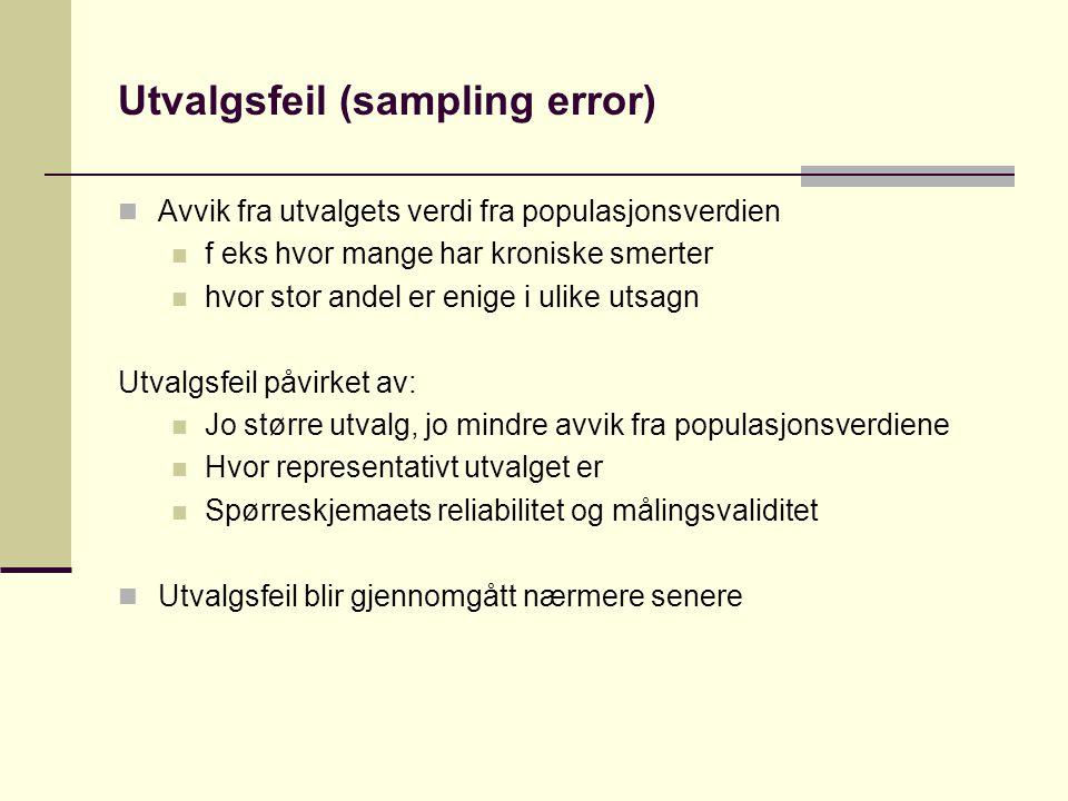 Utvalgsfeil (sampling error)