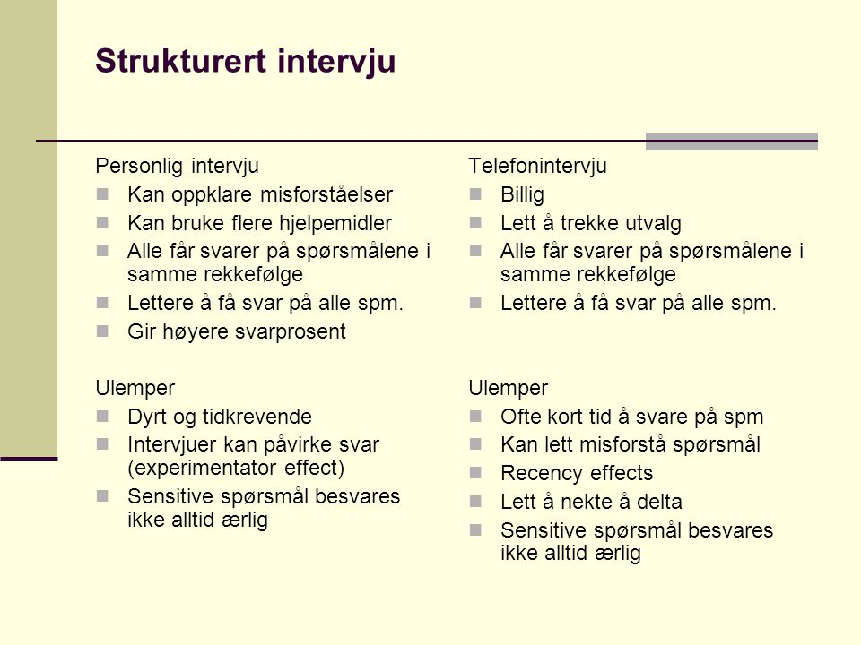 Strukturert intervju Personlig intervju Kan oppklare misforståelser