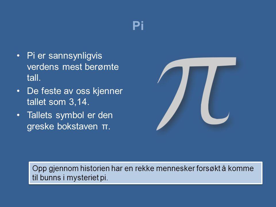 Pi Pi er sannsynligvis verdens mest berømte tall.