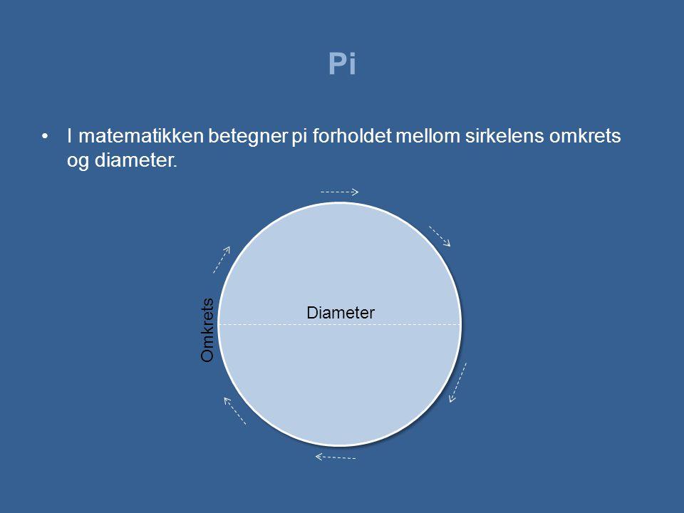 Pi I matematikken betegner pi forholdet mellom sirkelens omkrets og diameter. Diameter. Omkrets.