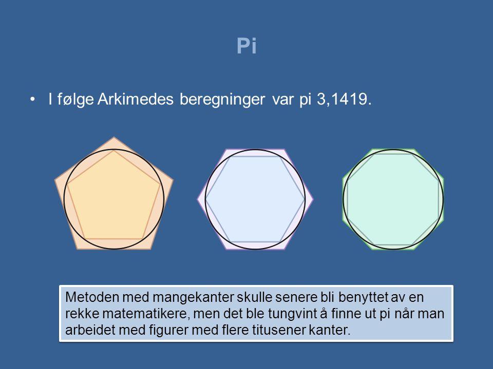 Pi I følge Arkimedes beregninger var pi 3,1419.