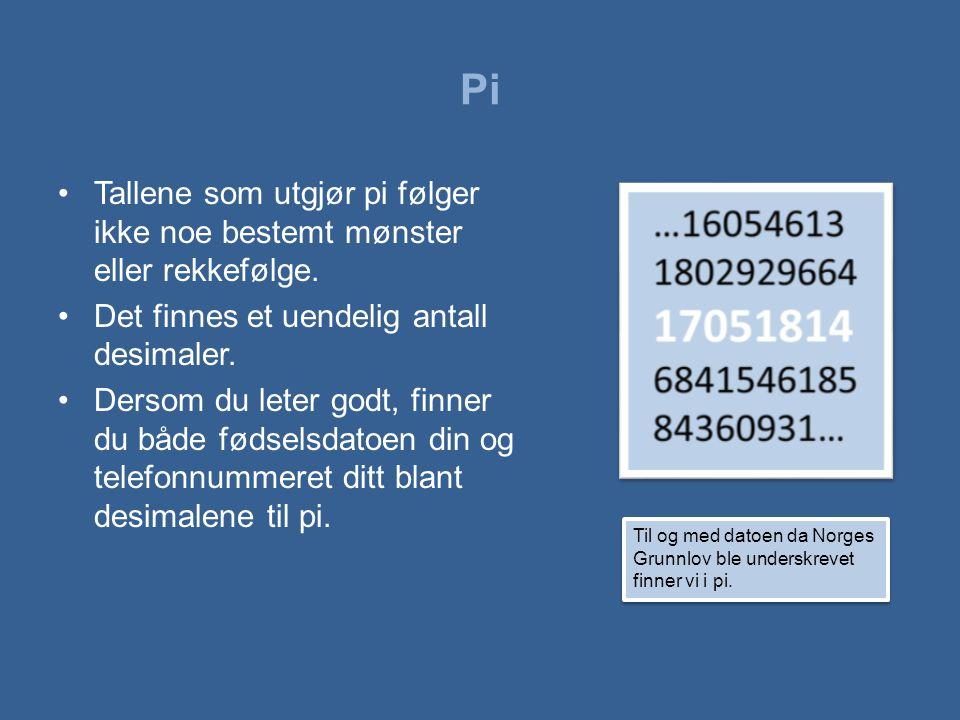 Pi Tallene som utgjør pi følger ikke noe bestemt mønster eller rekkefølge. Det finnes et uendelig antall desimaler.