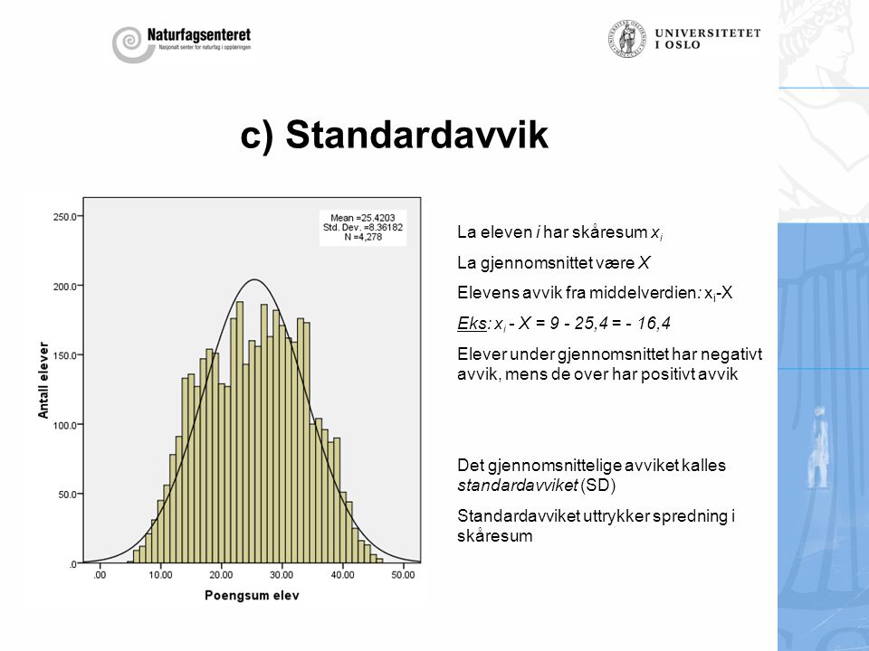 c) Standardavvik La eleven i har skåresum xi La gjennomsnittet være X