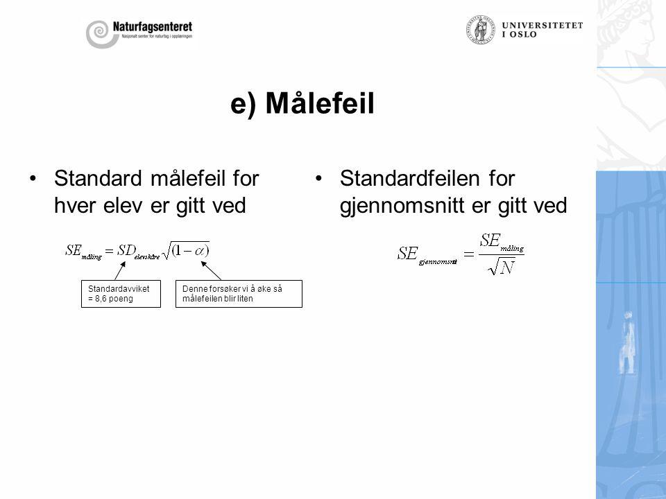 e) Målefeil Standard målefeil for hver elev er gitt ved