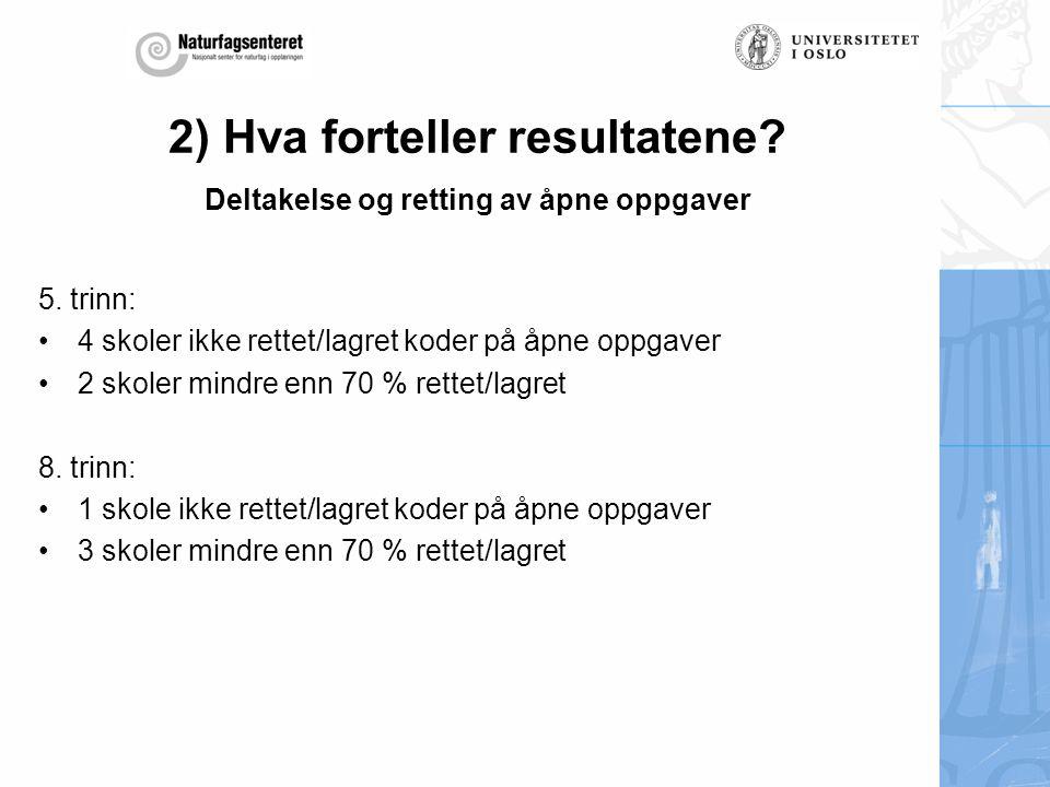 2) Hva forteller resultatene Deltakelse og retting av åpne oppgaver
