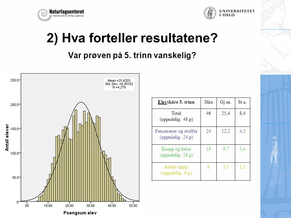 2) Hva forteller resultatene Var prøven på 5. trinn vanskelig
