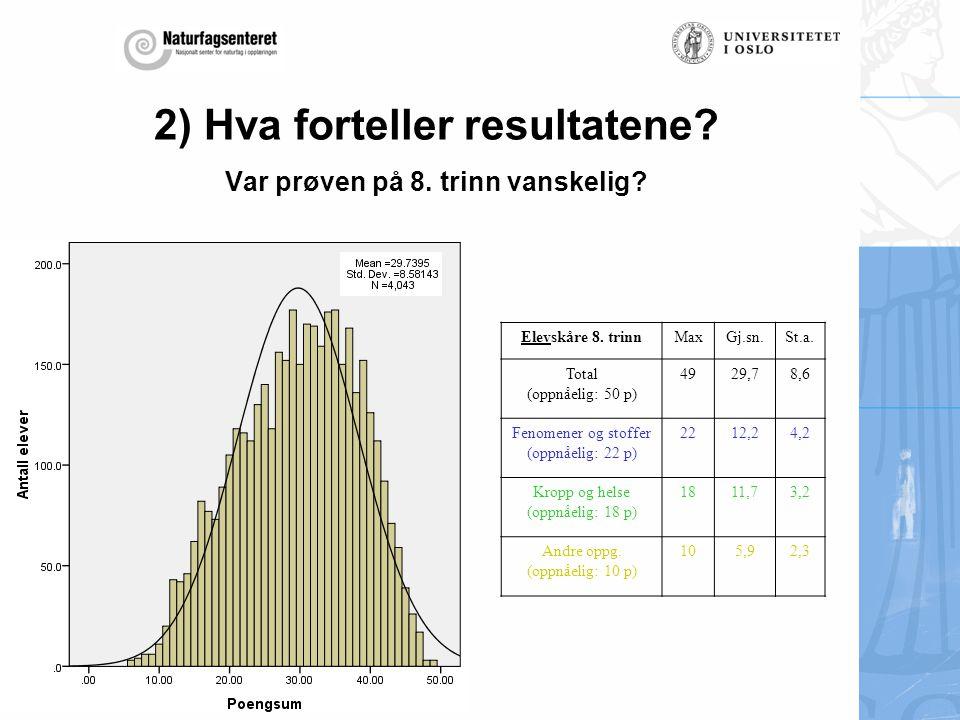 2) Hva forteller resultatene Var prøven på 8. trinn vanskelig