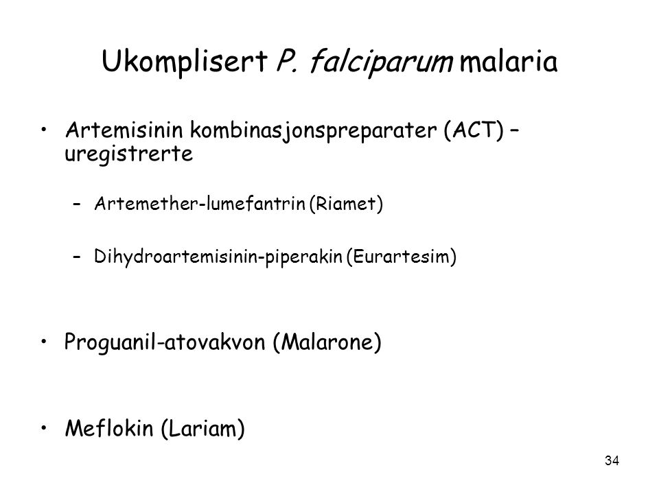Ukomplisert P. falciparum malaria