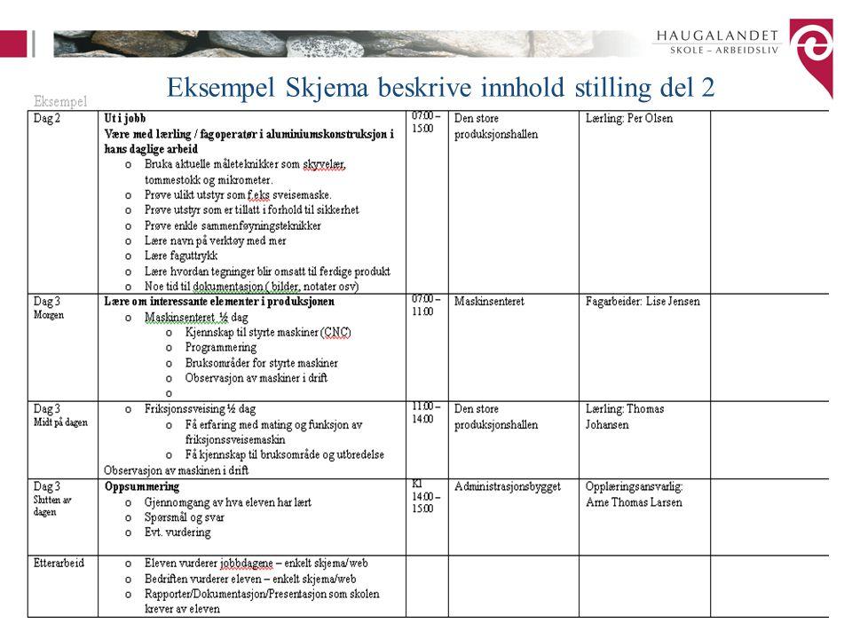 Eksempel Skjema beskrive innhold stilling del 2