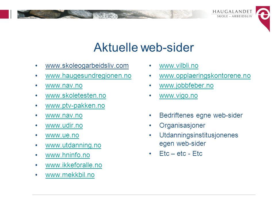 Aktuelle web-sider www.skoleogarbeidsliv.com www.haugesundregionen.no