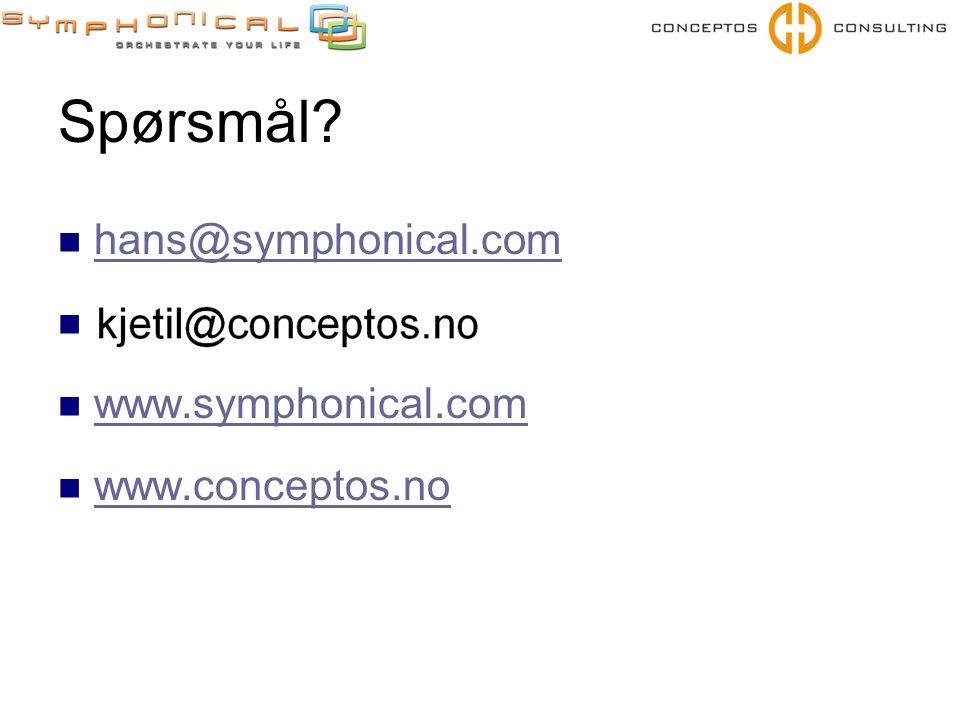 Spørsmål hans@symphonical.com www.symphonical.com www.conceptos.no