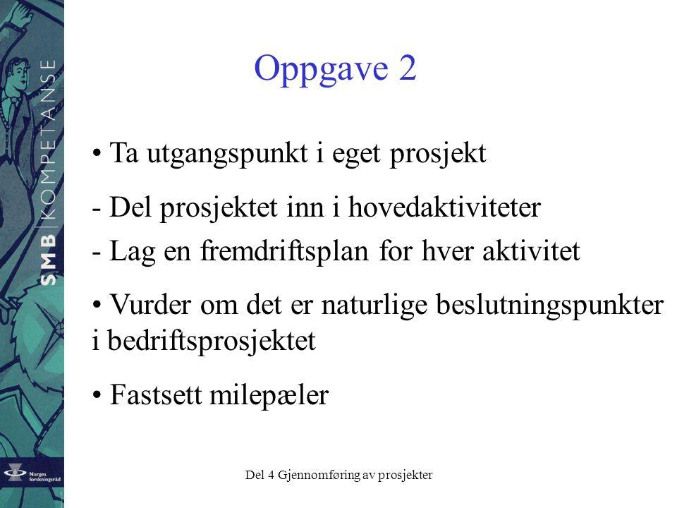 Del 4 Gjennomføring av prosjekter