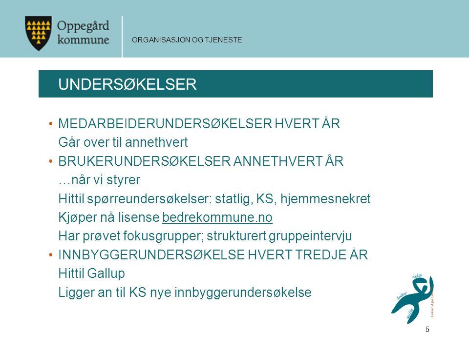UNDERSØKELSER MEDARBEIDERUNDERSØKELSER HVERT ÅR