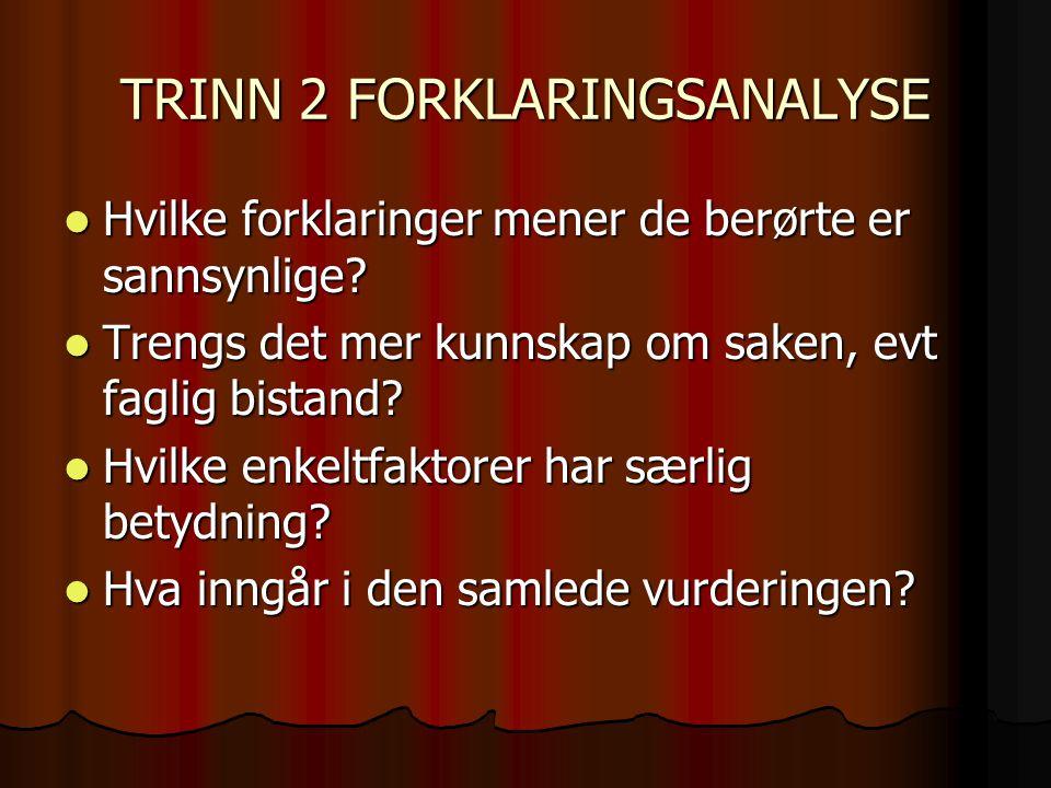 TRINN 2 FORKLARINGSANALYSE
