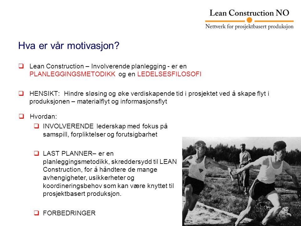 Hva er vår motivasjon Lean Construction – Involverende planlegging - er en PLANLEGGINGSMETODIKK og en LEDELSESFILOSOFI.