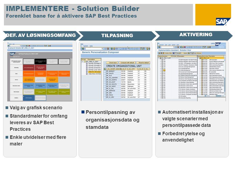 IMPLEMENTERE - Solution Builder Forenklet bane for å aktivere SAP Best Practices