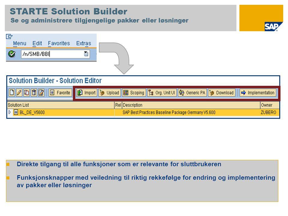 STARTE Solution Builder Se og administrere tilgjengelige pakker eller løsninger