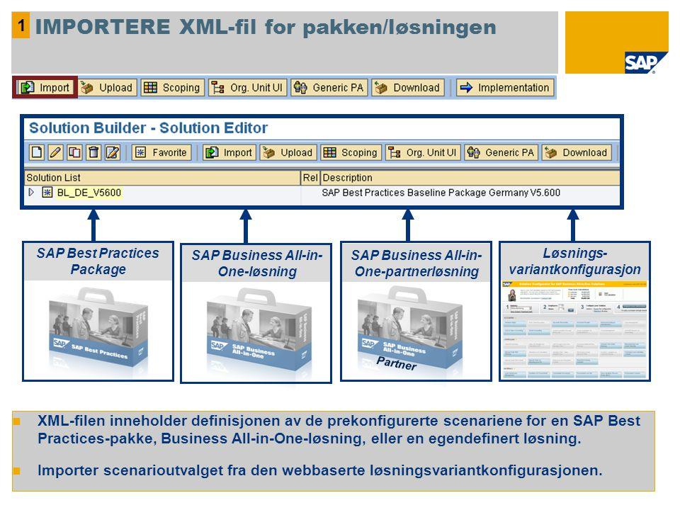 IMPORTERE XML-fil for pakken/løsningen