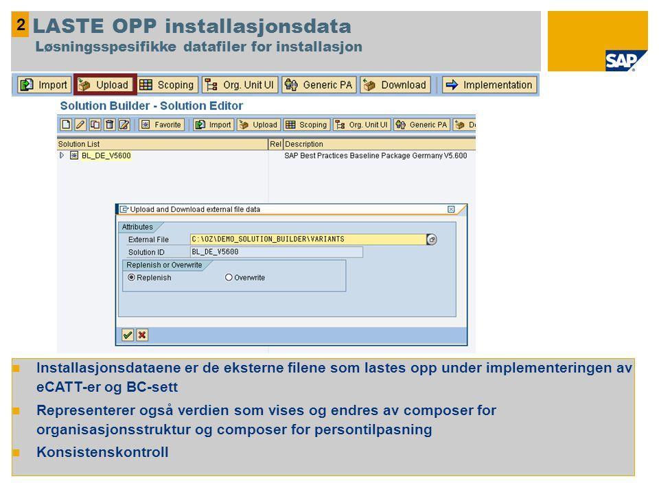 2 LASTE OPP installasjonsdata Løsningsspesifikke datafiler for installasjon.